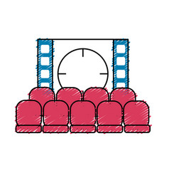 Cinema room with movie projection and chairs vector
