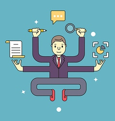 Concept of multitasking businessman who works with vector image vector image