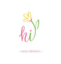 hi spring modern hand drawn lettering vector image vector image