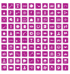 100 gambling icons set grunge pink vector