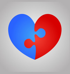 2 red blue piece puzzle heart valentines day love vector