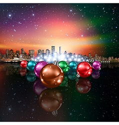 Abstract Christmas with decorations and panorama vector image