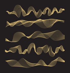 Abstract waves set on black background vector