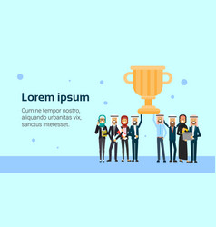 arab business group leader hold winner prize cup vector image