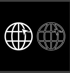 arrow on earth grid globe internernet concept vector image