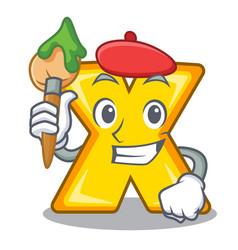 Artist character cartoon multiply sign for logo vector