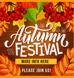 Autumn festival invite poster harvest holiday vector