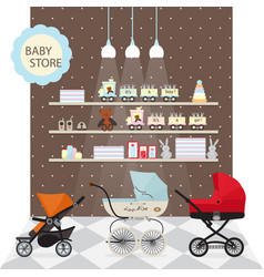 Baby store banner with child pram vector