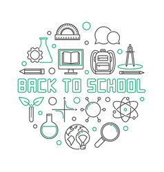 back to school round outline simple vector image