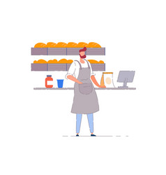 Bakery business owner isolated baker vector
