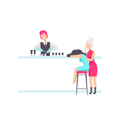 bartender standing at the bar counter mixing vector image
