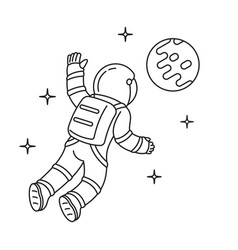 black and white cosmonaut who floating vector image