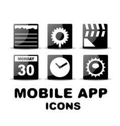 Black glossy square mobile app icons vector image