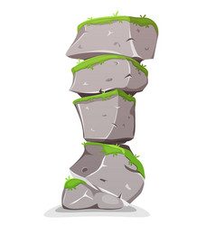 Boulders tower with grass vector