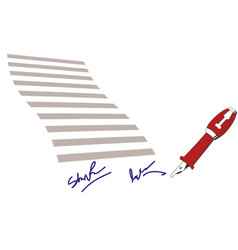 Business contract with signature flat icon vector