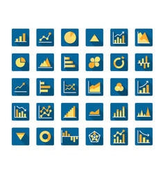 business graph flat long shadow icon set vector image