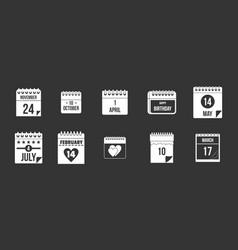 calendar date icon set grey vector image