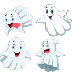 Cartoon funny ghost collection set vector