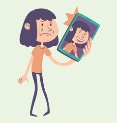 Cartoon Girl Taking a Photo vector image