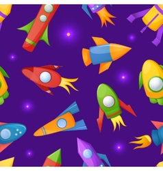 Cartoon rockets 3D seamless pattern vector image