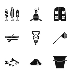 Catch fish icons set simple style vector image
