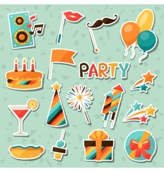 Celebration set party sticker icons and objects vector