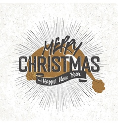 christmas card with christmas santas hat vector image