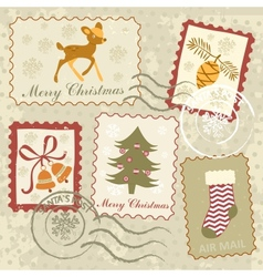 Christmas stamps collection vector