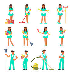 cleaners characters man and woman vector image