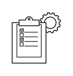 Clip board work cogwheels icons vector