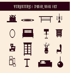 collection furniture and decor made in cartoon vector image
