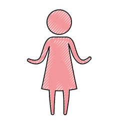 color crayon silhouette pictogram woman in dress vector image