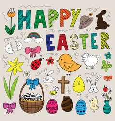 colorful hand drawn easter doodles set vector image