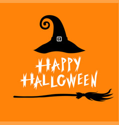 Congratulatory halloween icon with hat and broom vector