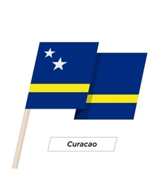 Curacao Ribbon Waving Flag Isolated on White vector image