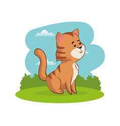 Cute tiger animal with landscape vector