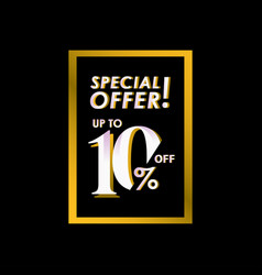 Discount special offer up to 10 off label vector