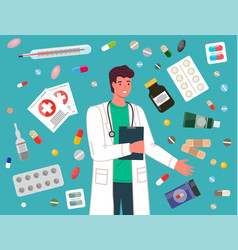doctor prescription and pills man medical worker vector image