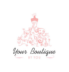 dress boutique bridal logo template vector image