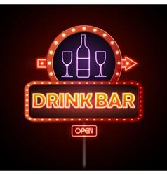 Drink bar Neon sign vector