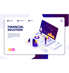 economics finance manager isometric concept fund vector image