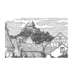 Engraved of old village vector