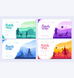 family vacation with children in nature brochure vector image