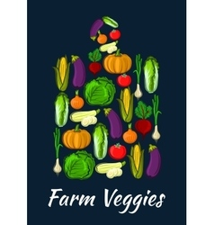 Farm veggies symbol of fresh organic vegetables vector