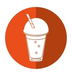 Frappe coffee straw take out container - round vector