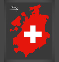 Fribourg map of switzerland with swiss national vector
