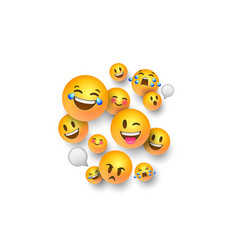 Funny 3d emoji face icons on white background vector
