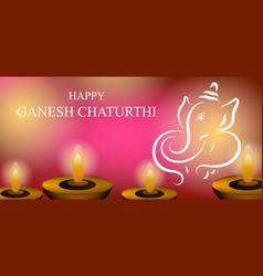 Ganesh chaturthi festival card design celebration vector