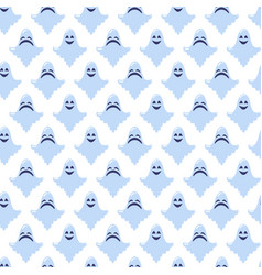 ghost cartoon halloween blue pattern vector image