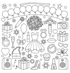 Girl party doodle set vector